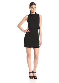 French Connection Women's Polka Plain Jersey Overlay Sleeveless Dress