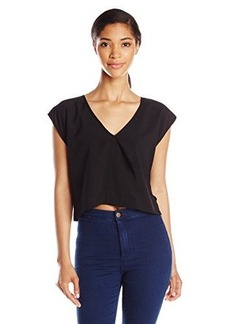 French Connection Women's Polly Plains Crop Top, Black, Small