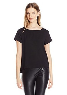 French Connection Women's Polly Plains Frill Side Top, Black, Medium