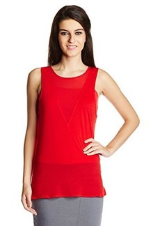 French Connection Women's Polly Plains Illusion V-Neck Top, Royal Scarlet, Medium