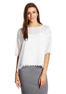 French Connection Women's Polly Plains Pompom Top, Summer White, Medium