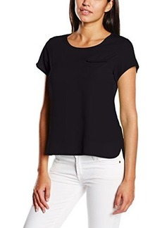 French Connection Women's Polly Plains Short Sleeve Pocket Top, Black, X-Small