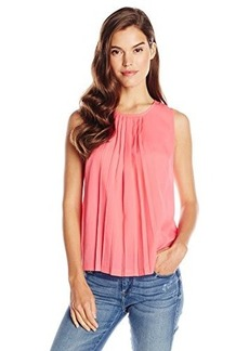 French Connection Women's Polly Plains Sleeveless Top, Keywest Coral, Medium