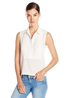 French Connection Women's Polly Plains Sleeveless Top with Buttons, Daisy White, Medium