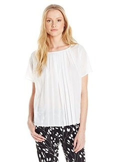 French Connection Women's Polly Pleats Short Sleeve Top, Summer White, Small