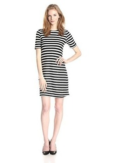 French Connection Women's Railroad Stars Stripe Short Sleeve Swing Dress, Black/White, 8