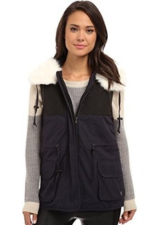 French Connection Women's Rhumba Nylon Faux Fur Collar Vest, Utility Blue, 4