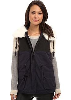 French Connection Women's Rhumba Nylon Faux Fur Collar Vest, Utility Blue, 6