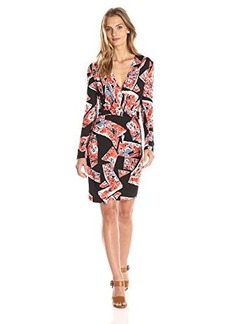 French Connection Women's Riot Rose Jersey Long Sleeve Wrap Dress, Riot Red/Multi, 6