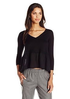 French Connection Women's Ripple Knits Sweater, Black/Black, Medium