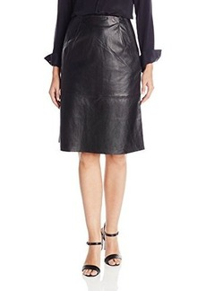 French Connection Women's Rocker Leather Skirt, Black, 8