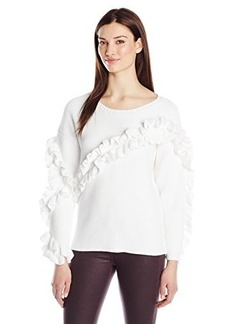 French Connection Women's Ruth Frill Sweater, Summer White, Medium