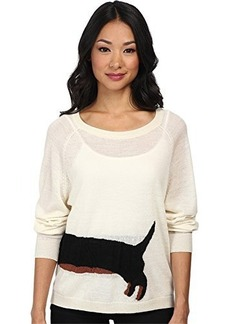 French Connection Women's Sausage Dog Sweater, Ivory/Black/Brick, Small