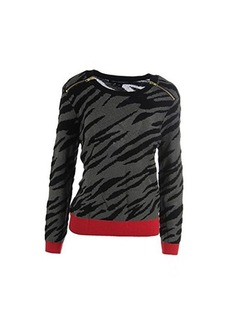 French Connection Women's Siberian Tiger Sweater, Red/Sweet Almond/Black, Medium