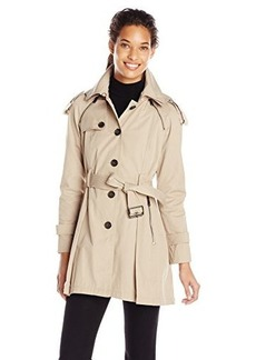 French Connection Women's Single Breasted Trench with Pleated Back, Light Khaki, Large