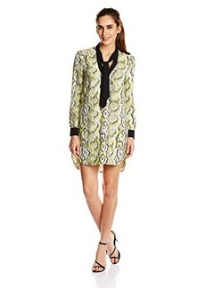 French Connection Women's Soho Boa Drape Long Sleeve Printed Dress, Acid Blonde Multi, 0