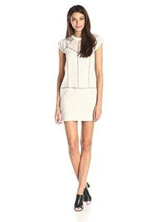 French Connection Women's Speckled Sweatshirt Dress, Porcelain/Fleck/Black, 4