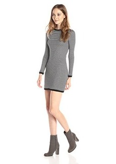 French Connection Women's Starzy Stripe Long Sleeve Sweater Dress, Black/Nocturnal/Silver, 2