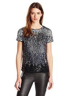 French Connection Women's Sunbeamer Sequins Top, Black/White Ombre, Medium