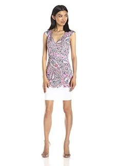 French Connection Women's Sundown Border Cotton Sleeveless Printed Dress, Ziggy Pink/Multi, 10