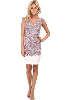 French Connection Women's Sundown Border Cotton Sleeveless Printed Dress, Ziggy Pink/Multi, 10