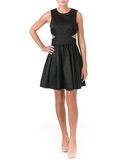 French Connection Women's Super Chick Solid Cutout Fit and Flare Dress, Black, 8
