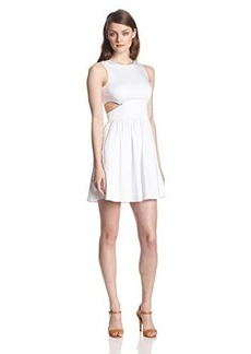French Connection Women's Super Chick Solid Cutout Fit and Flare Dress, White, 4