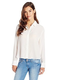French Connection Women's Super Silk Top Long Sleeve Buttondown Top, Winter White, 0