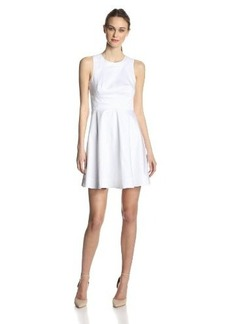 French Connection Women's Superchick Solid Fit and Flare Dress, White, 4