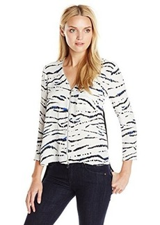 French Connection Women's Tapir Wave Crepe Top, Summer White Multi/Black, 4