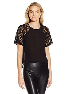 French Connection Women's Taza Lace Top, Black, 12