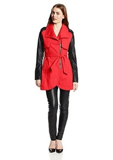 French Connection Women's Tulip Trench Coat with Faux-Leather Sleeves