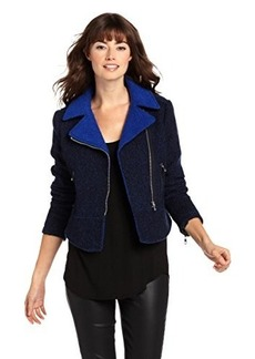 French Connection Women's Tweed Motorcycle Jacket