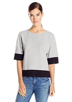 French Connection Women's Valentine Viscose Short Sleeve Knit Top, Grey/Black, Medium