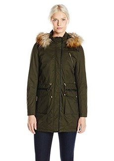 French Connection Women's Wax Finish Anorak with Faux Fur Trim Hood, Russian Pine, Large
