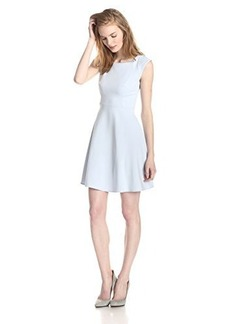 French Connection Women's Whisper Light Cap Sleeve Fit and Flare Dress, Crystal Clear, 12