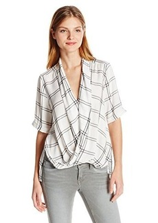 French Connection Women's Whistler Check Top, Summer White/Black, 2