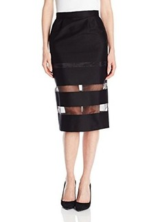 French Connection Women's Wind Jammer Sheer Inset Skirt, Black, 4