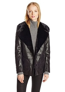 French Connection Women's Winter Rhonda Faux Shearling Jacket, Black, 0