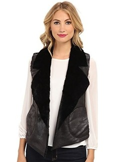 French Connection Women's Winter Rhonda Faux Shearling Vest, Black, 4