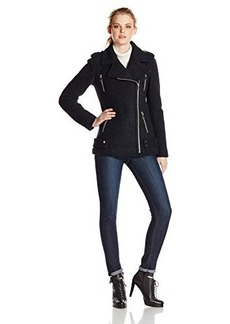 French Connection Women's Wool Boucle Moto Jacket