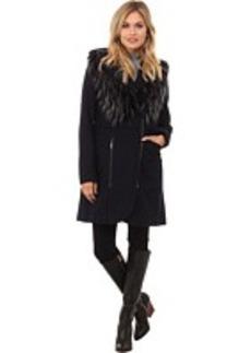 French Connection Wool Coat w/ Detachable Fur Vest