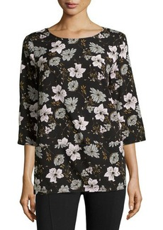 French Connection Woven Round-Neck Floral Top