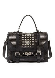 Frye Cameron Leather Studded Satchel Bag, Black