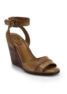 Frye Patricia Leather Wedge Sandals