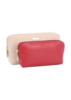 Furla acero and cabernet leather 2-in-1 cosmetic case