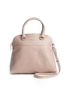 Furla amande taupe leather 'Victoria M Dome' convertible tote