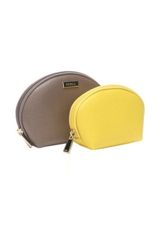 Furla beige and sunny leather two-in-one cosmetic case
