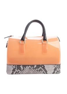 Furla belletto pink and brown 'Candy' rubber gel handbag