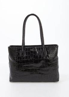 Furla black croc embossed medium 'Martha' satchel